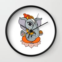 hindu Wall Clocks featuring Hindu God Ganapati (Ganesha). Hand drawn illustration. by Katyau