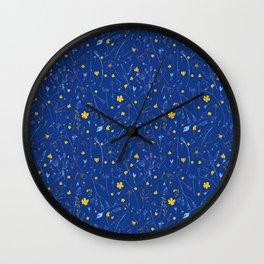 June Garden -Yellow and blue Wall Clock