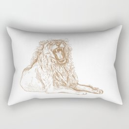 Back Off, Please in Gold | Roaring Lion Drawing Rectangular Pillow