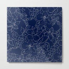 Hand drawn navy blue white modern flowers pattern Metal Print