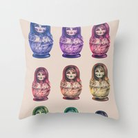 russia Throw Pillows featuring Russia by Galvanise The Dog