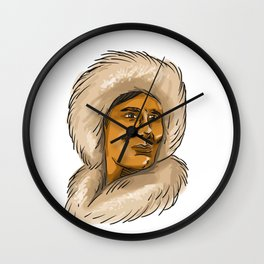 Eskimo Inuit Hooded Parka Watercolor Wall Clock