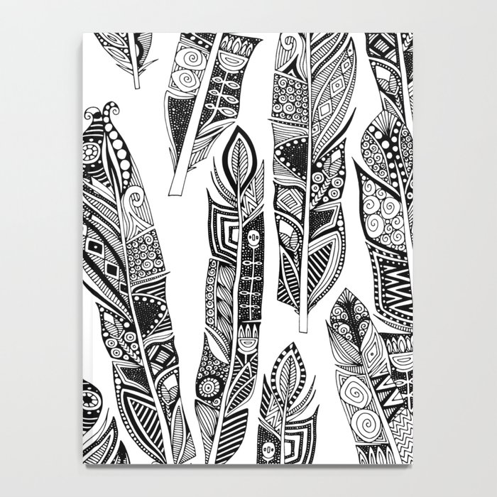 geo feathers black white Notebook