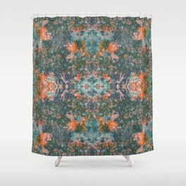 Psychedelic Spring Garden // Abstract Camo in Hunter Green, Living Coral and Blush Shower Curtain