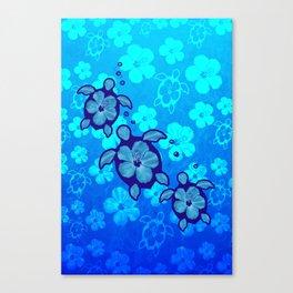 3 Blue Honu Turtles Canvas Print