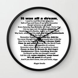 """Biggie Rap Lyrics - Urban Text Font """"It Was All A Dream!"""" Wall Clock"""