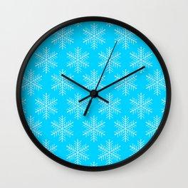 Ice Blue Snowflakes Wall Clock