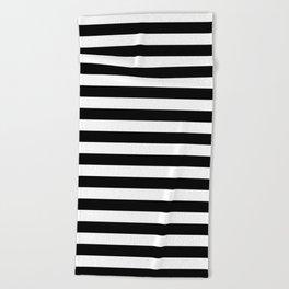 Narrow Horizontal Stripes - White and Black Beach Towel
