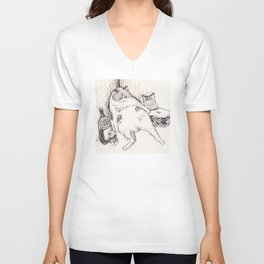 Drunk Cat Unisex V-Neck