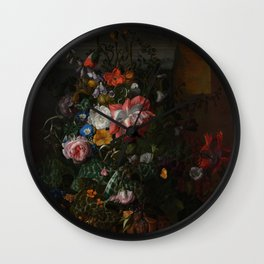 Rachel Ruysch - Roses, Convolvulus, Poppies and other flowers in an Urn on a Stone Ledge (1680) Wall Clock