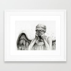 Weeping Angel Watercolor Painting Framed Art Print