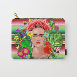 Frida Kahlo Floral Exotic Portrait Carry-All Pouch