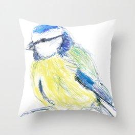 Beautiful Blue Tit Garden Bird Throw Pillow