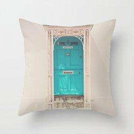 mint green door in a pink building  Throw Pillow