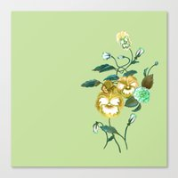 decal Canvas Prints featuring Pansy Decal Green & Gold by ThistleandFox