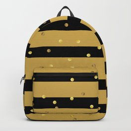 Christmas Golden confetti on Gold and Black Stripes Backpack
