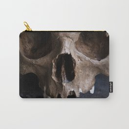 Male skull on rusty metal background Carry-All Pouch