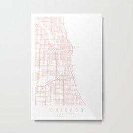 Chicago Illinois Light Pink Minimal Street Map Metal Print