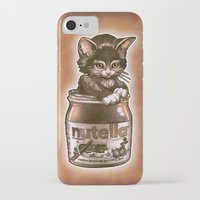 nutella iPhone & iPod Cases featuring Kitten Loves Nutella by Tim Shumate