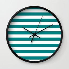 Narrow Horizontal Stripes - White and Dark Cyan Wall Clock