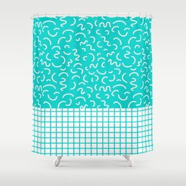 Hockney - Bright blue, memphis, 80s, 90s, swimming pool, summer turquoise design cell phone, phone  Shower Curtain
