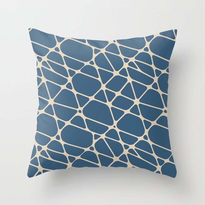 Beige and Blue Abstract Mosaic Pattern 2 Pairs to 2020 Color of the Year Chinese Porcelain PPG1160-6 Throw Pillow