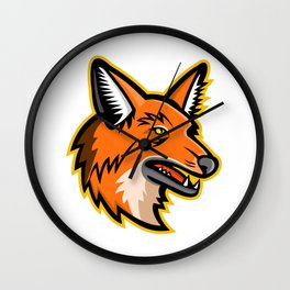 Maned Wolf Mascot Wall Clock