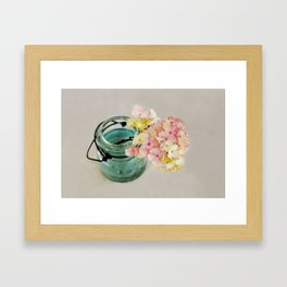 Pink and Yellow Hydrangeas on Taupe Framed Art Print