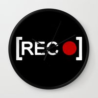 parks and rec Wall Clocks featuring Record button - [REC] by Alisa Galitsyna