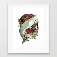 whales Framed Art Prints featuring Whales by green penguin