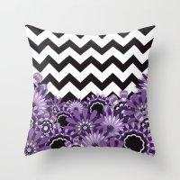 Purple Flower Chevron Throw Pillow