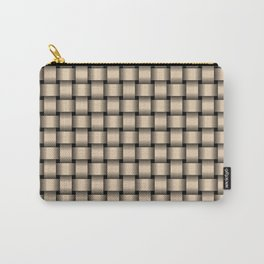 Small Bisque Brown Weave Carry-All Pouch