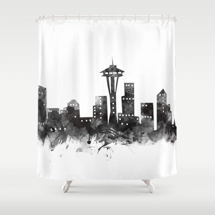 Seattle Skyline Shower Curtain By Artsaren