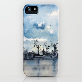 Original Watercolor Landscape of a Stormy Sky over the Gulf of Finland iPhone Case