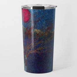Abstract watercolor landscape with tree Travel Mug