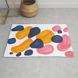 Mid Century Modern Minimalist Abstract Colorful Bubbles Pebbles Yellow Navy Blue Pink Rug