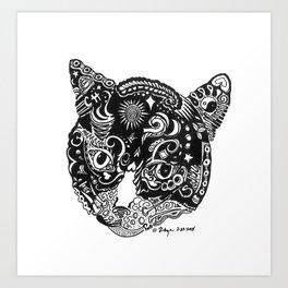 Tribal black and white kitty Art Print