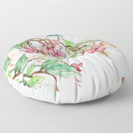 Honeysuckle Hummingbird Floor Pillow