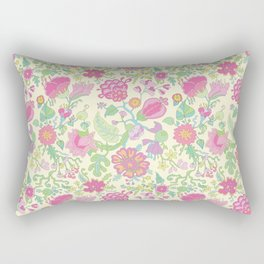 Pink and Peach Flowered curtains Rectangular Pillow