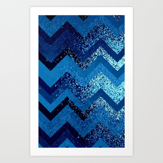 sparkly and dark blue adventure Art Print