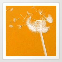 Tangerine Dandelion  Art Print