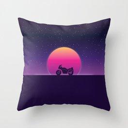 80s Retro Sunset Bike Throw Pillow