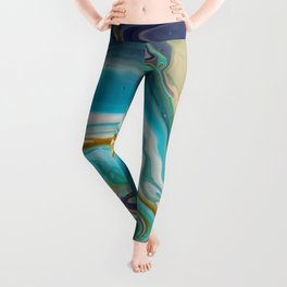 Fluid Abstract - Blue and Purple Leggings