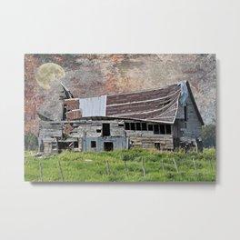 Moon Over Barn Metal Print