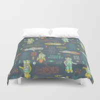 outer space Duvet Covers featuring Robots from Outer space by Silvia Dekker