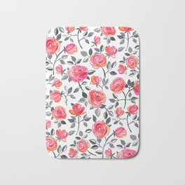 Roses on White - a watercolor floral pattern Bath Mat