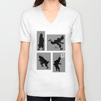 tintin V-neck T-shirts featuring Tintin, Silhouetted by Faellen