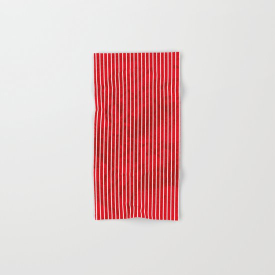 Red grunge stripes on white background Hand & Bath Towel