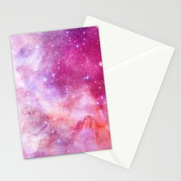 Blush Pink and Ultra Violet Celestial Galaxy Stationery Cards