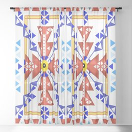 Native Americans pattern Sheer Curtain